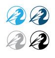pelican round emblems set design template vector image vector image