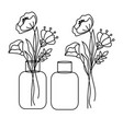 poppy line style floral bouquet in a vase jar vector image vector image