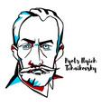 pyotr ilyich tchaikovsky portrait vector image vector image