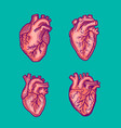red heart icon set hand drawn style vector image