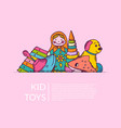 round pile of kid toys elements half hidden vector image vector image