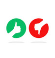 round red and green thumbs up and down vector image vector image