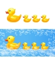 rubber duck with ducklings vector image vector image