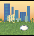 rugball on cityscape vector image vector image