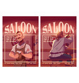 saloon cartoon ad posters with old style tavern vector image vector image