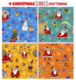 seamless patterns set with cartoon christmas vector image