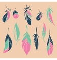 set of hand drawn feathers vector image vector image