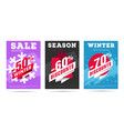 set winter posters with per cent numbers and vector image vector image