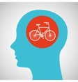 silhouette head bicycle icon graphic vector image