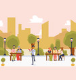 street restaurant with people on cityscape vector image