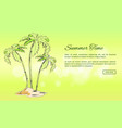 summer time poster with palm trees growing on sand vector image vector image