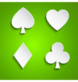 Symbol set of playing cards on green background vector image vector image