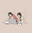 teamwork working in office female company staff vector image