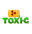 Toxic lettring Liquid green letters and barrel of vector image vector image