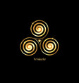 triskelion gold luxury symbol triple spiral celtic vector image vector image