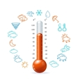 Weather Concept Red Thermometr and Icon Set vector image