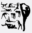Woman aerobic dance fitness sport silhouettes vector image vector image
