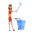 young girl with stick and dump garbage collection vector image