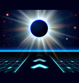 Unknown planet eclipse Abstract cosmic background vector image