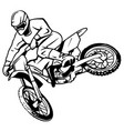 a silhouette of a motorcycle racer commits high vector image