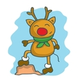 Happy deer with scarf character Christmas vector image