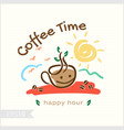 coffee in morning time for badge label identity vector image