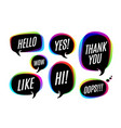 set of colorful bubbles icons or cloud talk with vector image