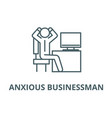 anxious businessman in office line icon vector image