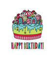 Birthday Cake Hand Drawn Doodle Bright vector image vector image