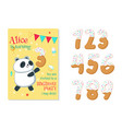 birthday invitation with panda and numbers vector image