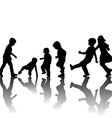 Black children silhouettes with shadows vector image vector image