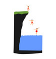 boys jumping from cliff in water summer fun vector image vector image