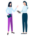 businesswomen with tablets discuss issues vector image