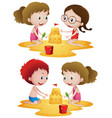 children playing sandcastle on beach vector image