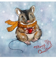 christmas greeting card with a mouse character vector image vector image