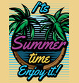 colored retro poster with palm trees to advertise vector image vector image