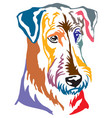 colorful decorative portrait of dog airedale vector image vector image