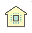 computer chip processor and home for smart home vector image