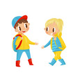 cute boy and girl with backpack on shoulders vector image vector image