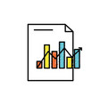document with statistics bar diagram and arrow vector image vector image