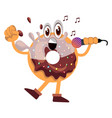 donut with microphone on white background vector image vector image