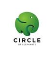 elephant logo circle design template vector image