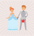 fairytale love knight in armour and princess in vector image vector image