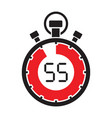 fifty five minute stop watch countdown vector image vector image