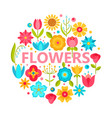 flower icons with flat style design vector image