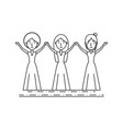 group women people with the hands up vector image