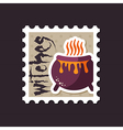 Halloween witch cauldron stamp vector image vector image