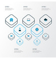 hardware icons colored set with man with notebook vector image vector image