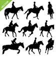 Horse riding silhouettes collections vector image vector image