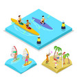 isometric outdoor activity kayaking surfing vector image vector image